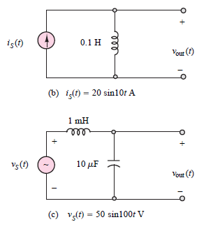 iç(1) 0.1 H Vout (f) (b) it) = 20 sin10t A 1 mH Vs(t) 10 µF Vout (f) (c) Vg(t) = 50 sin100t V не