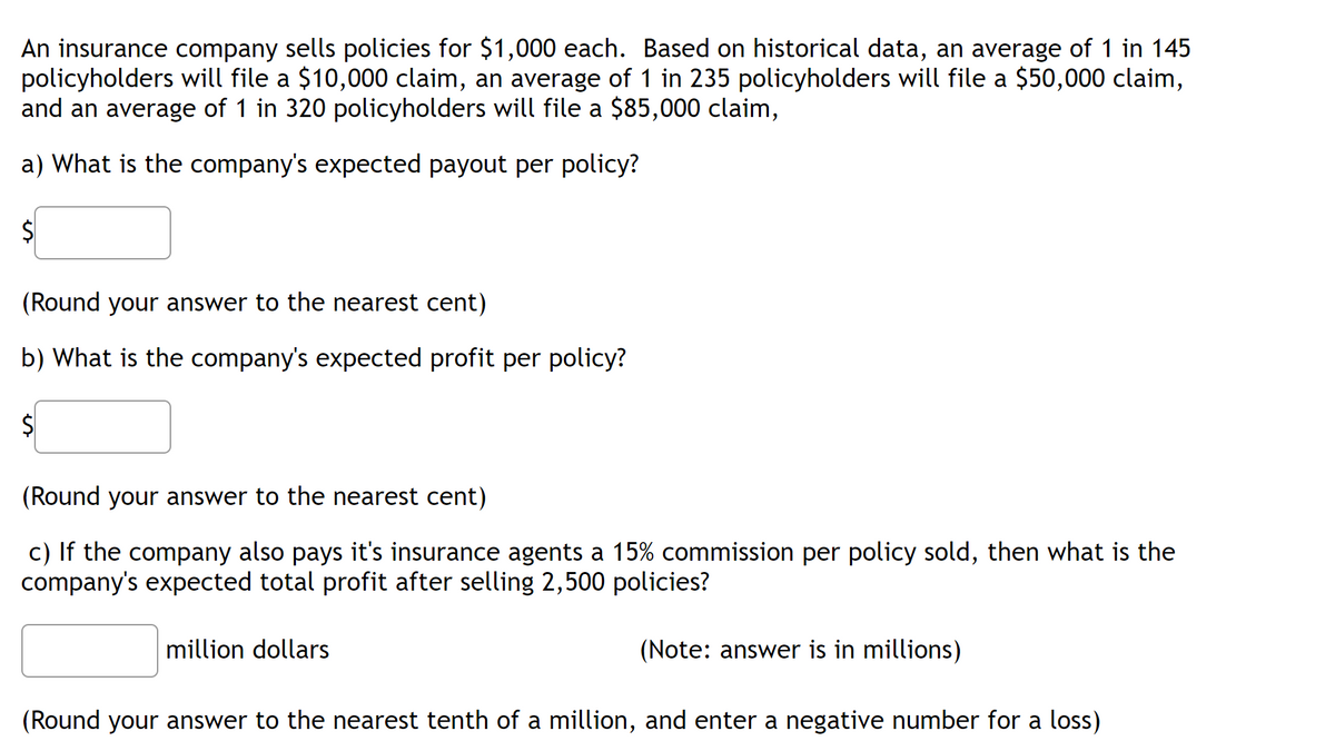 Answered: An insurance company sells policies for… | bartleby