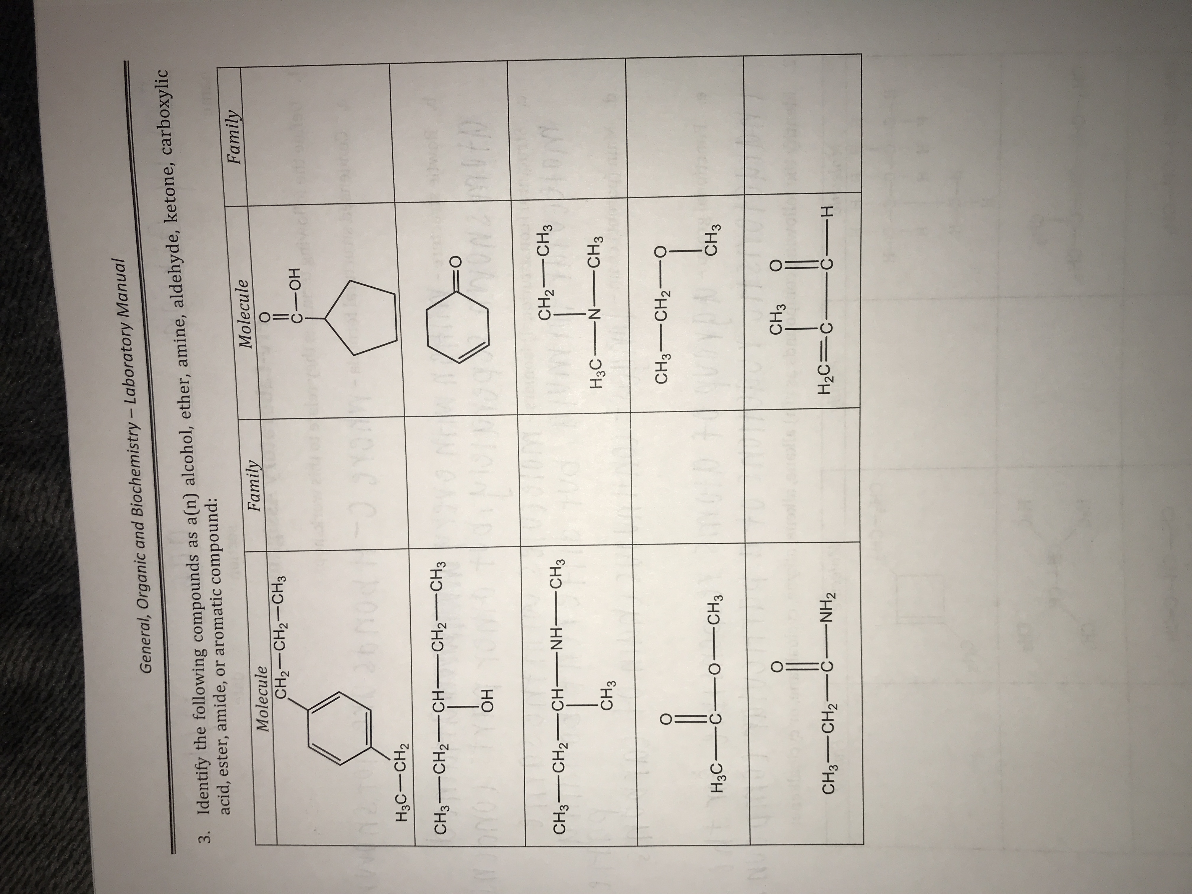 General, Organic and Biochem istry - Laboratory Manual 3. Identify the following compounds as a(n) alcohol, ether, amine, aldehyde, ketone, carboxylic acid, ester, amide, or aromatic compound: Family Molecule Family Molecule О CHа—CH2—CHз С —ОН 2 O 1 Io 107 Hас — сН2 CH3 CH2CH-CH2-- CH3 10 N =O VVNZMIED ОН CH2CH3 Om CH3 CH2-CH-NH CH3 H3C N CH3 CH3 CH3CH2 o 0410 H3C-C O CH3 CH3 о CH3 CH3 CH2 CNH2 H2C C CH
