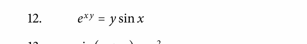 12. exy = y sin x