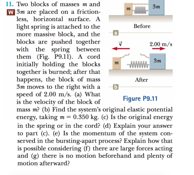 11. Two blocks of masses m and Зт т w 3m are placed on a friction- less, horizontal surface. A light spring is attached to the more massive block, and the blocks are pushed together with the spring between them (Fig. P9.11). A cord initially holding the blocks together is burned; after that happens, the block of mass 3m moves to the right with a speed of 2.00 m/s. (a) What is the velocity of the block of mass m? (b) Find the system's original elastic potential energy, taking m= 0.350 kg. (c) Is the original energy in the spring or in the cord? (d) Explain your answer to part (c). (e) Is the momentum of the system con- served in the bursting-apart process? Explain how that is possible considering (f) there are large forces acting and (g) there is no motion beforehand and plenty of Before 2.00 m/s Зт WWW т After Figure P9.11 motion afterward?