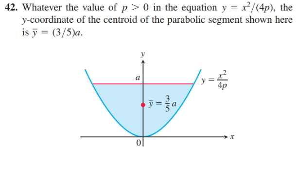 42. Whatever the value of p > 0 in the equation y = x²/(4p), the y-coordinate of the centroid of the parabolic segment shown here is ỹ = (3/5)a. a y х ||
