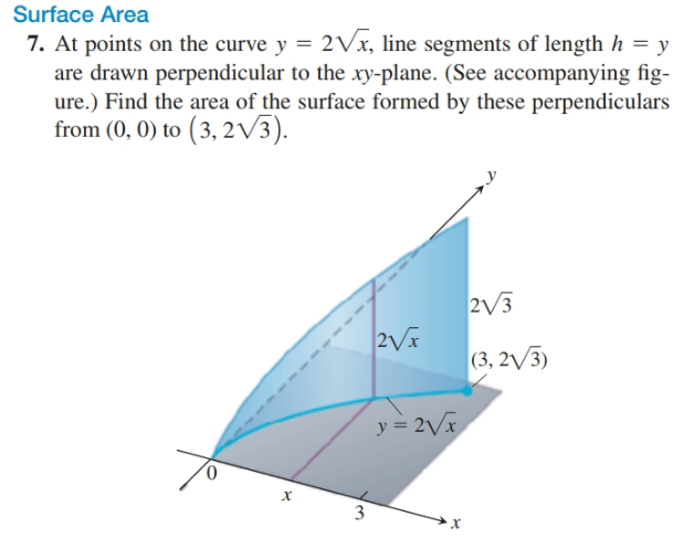 Surface Area 7. At points on the curve y = 2Vx, line segments of length h = y are drawn perpendicular to the xy-plane. (See accompanying fig- ure.) Find the area of the surface formed by these perpendiculars from (0, 0) to (3, 2V3). 2V3 (3, 2/3) y = 2Vx 0. 3