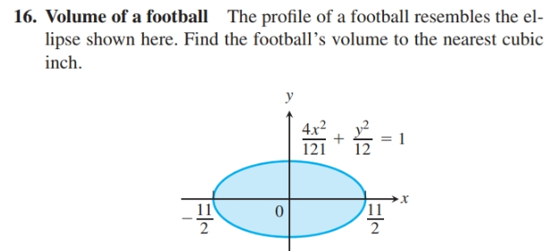 16. Volume of a football The profile of a football resembles the el- lipse shown here. Find the football's volume to the nearest cubic inch. 4x2 121 11 11 2 ElN