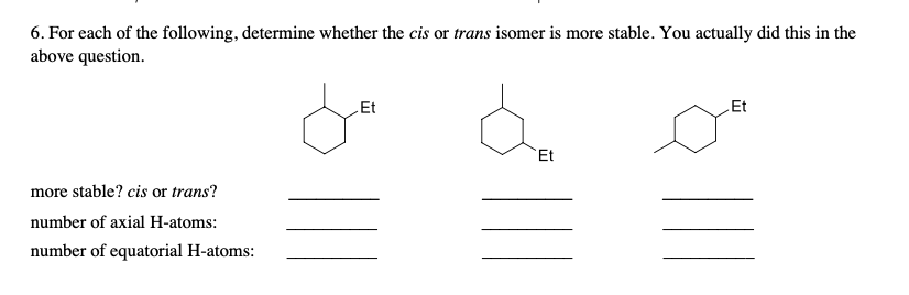 6. For each of the following, determine whether the cis or trans isomer is more stable. You actually did this in the above question. LEt Et Et more stable? cis or trans? number of axial H-atoms: number of equatorial H-atoms: