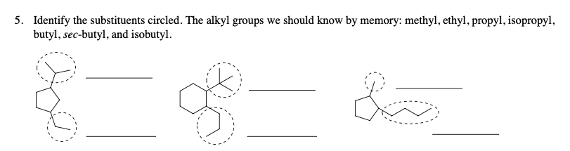 5. Identify the substituents circled. The alkyl groups we should know by memory: methyl, ethyl, propyl, isopropyl, butyl, sec-butyl, and isobutyl.