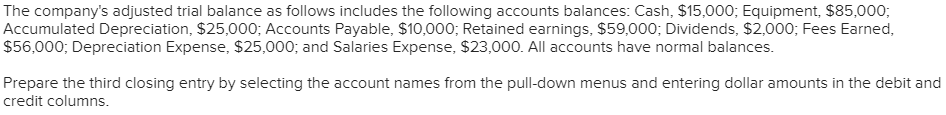 The company's adjusted trial balance as follows includes the following accounts balances: Cash, $15,000; Equipment, $85,000; Accumulated Depreciation, $25,000; Accounts Payable, $10,000; Retained earnings, $59,000; Dividends, $2,000; Fees Earned $56,000; Depreciation Expense, $25,000; and Salaries Expense, $23,000. All accounts have normal balances. Prepare the third closing entry by selecting the account names from the pull-down menus and entering dollar amounts in the debit and credit columns.