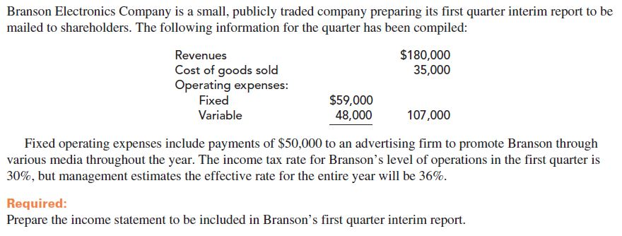 Branson Electronics Company is a small, publicly traded company preparing its first quarter interim report to be mailed to shareholders. The following information for the quarter has been compiled: $180,000 35,000 Revenues Cost of goods sold Operating expenses: Fixed $59,000 48,000 107,000 Variable Fixed operating expenses include payments of $50,000 to an advertising firm to promote Branson through various media throughout the year. The income tax rate for Branson's level of operations in the first quarter is 30%, but management estimates the effective rate for the entire year will be 36%. Required: Prepare the income statement to be included in Branson's first quarter interim report.