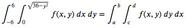 -Г. /36-y2 f(х, у) dx dy %3 f(x, y) dy dx -6