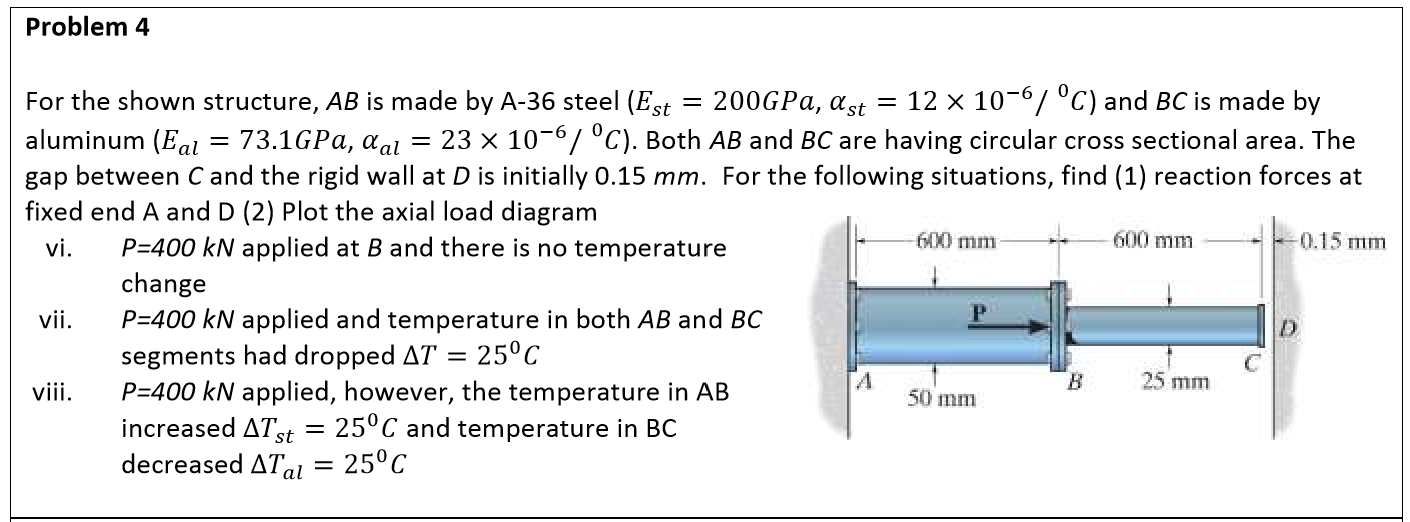 Problem 4 For the shown structure, AB is made by A-36 steel (Est = 200GPA, ast = 12 x 10-67 °C) and BC is made by %  73.1GPA, aal = 23 × 10-6/ °C). Both AB and BC are having circular cross sectional area. The aluminum (Eal gap between C and the rigid wall at D is initially 0.15 mm. For the following situations, find (1) reaction forces at fixed end A and D (2) Plot the axial load diagram P=400 kN applied at B and there is no temperature -0.15 тm 600 mm 600 mm vi. change vii. P=400 kN applied and temperature in both AB and BC 25°C segments had dropped AT P=400 kN applied, however, the temperature in AB increased ATst = 25°C and temperature in BC decreased ATal = 25°C vii. B. 25 mm 50 mm