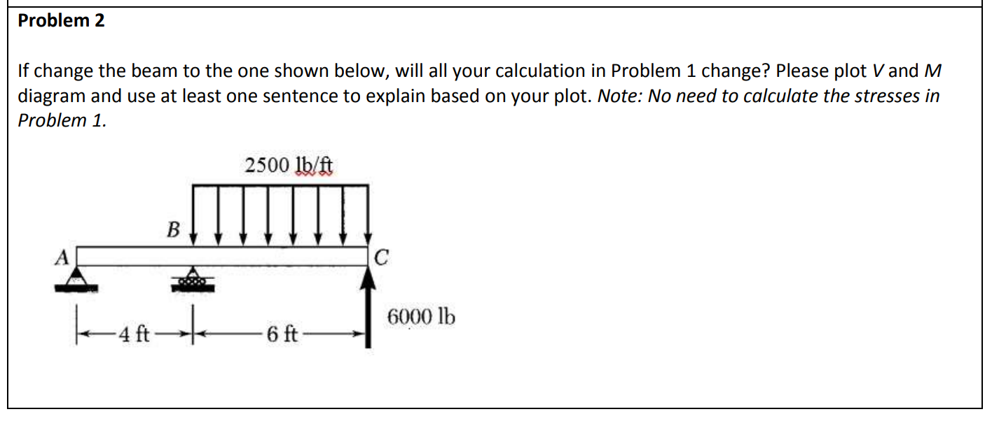 Problem 2 If change the beam to the one shown below, will all your calculation in Problem 1 change? Please plot V and M diagram and use at least one sentence to explain based on your plot. Note: No need to calculate the stresses in Problem 1. 2500 lb/ft B 6000 lb 6 ft