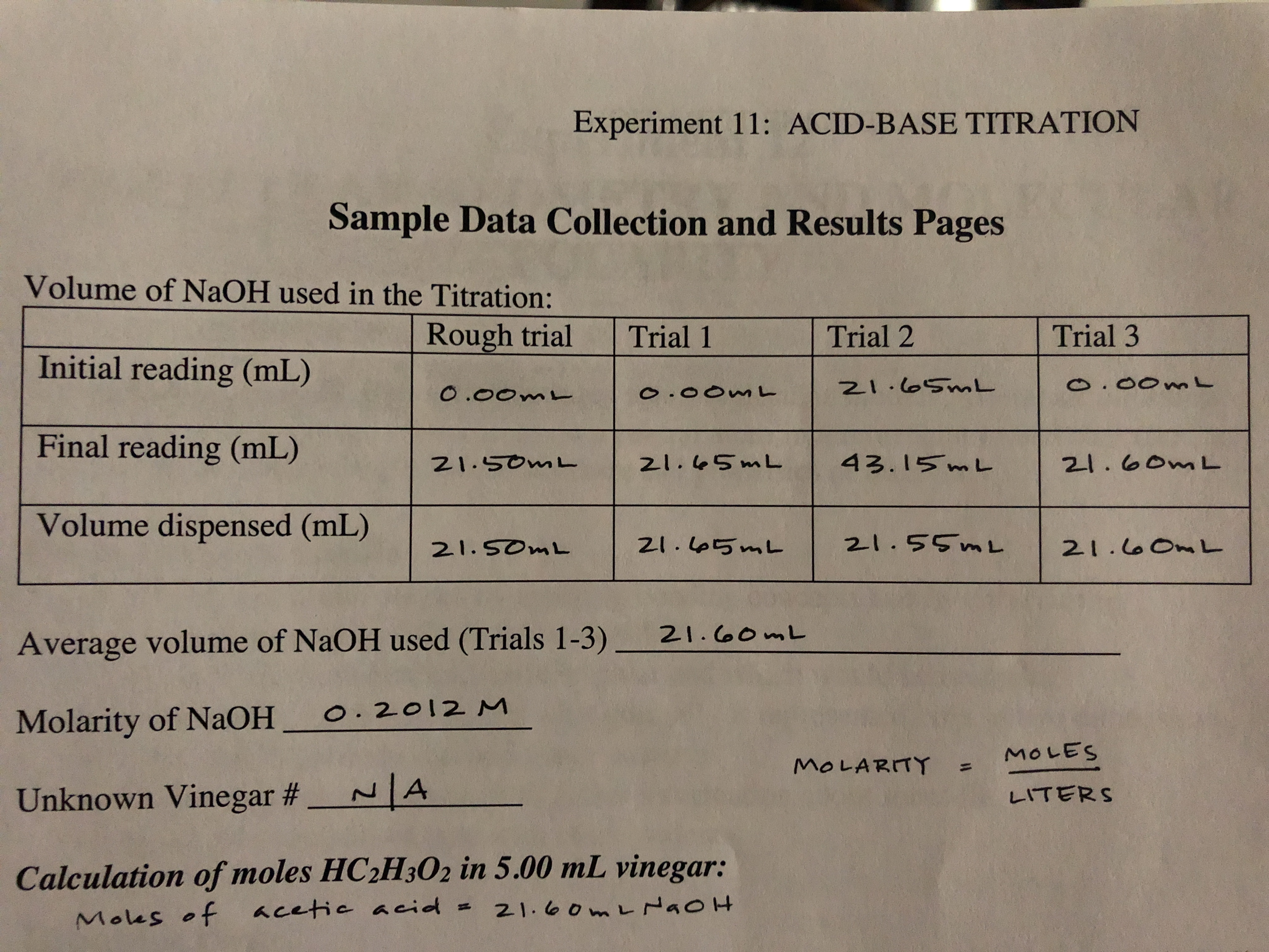 Experiment 11: ACID-BASE TITRATION Sample Data Collection and Results Pages Volume of NaOH used in the Titration: Rough trial Trial 3 Trial 2 Trial 1 Initial reading (mL) N1.0SML o.00mL O .00m . OOm Final reading (mL) 43.15 mL 21.50mL 21.60ML 21.45ML Volume dispensed (mL) 2-1.55ML ZI.5mL 21.SOML 21.0OnL 21. o0mL Average volume of NAOH used (Trials 1-3) O. 2012 M Molarity of NaOH MOLES MOLARITY A Unknown Vinegar #_ LITERS Calculation of moles HC2H302 in 5.00 mL vinegar: 21. 00m L NaoH Mous of cetie acid