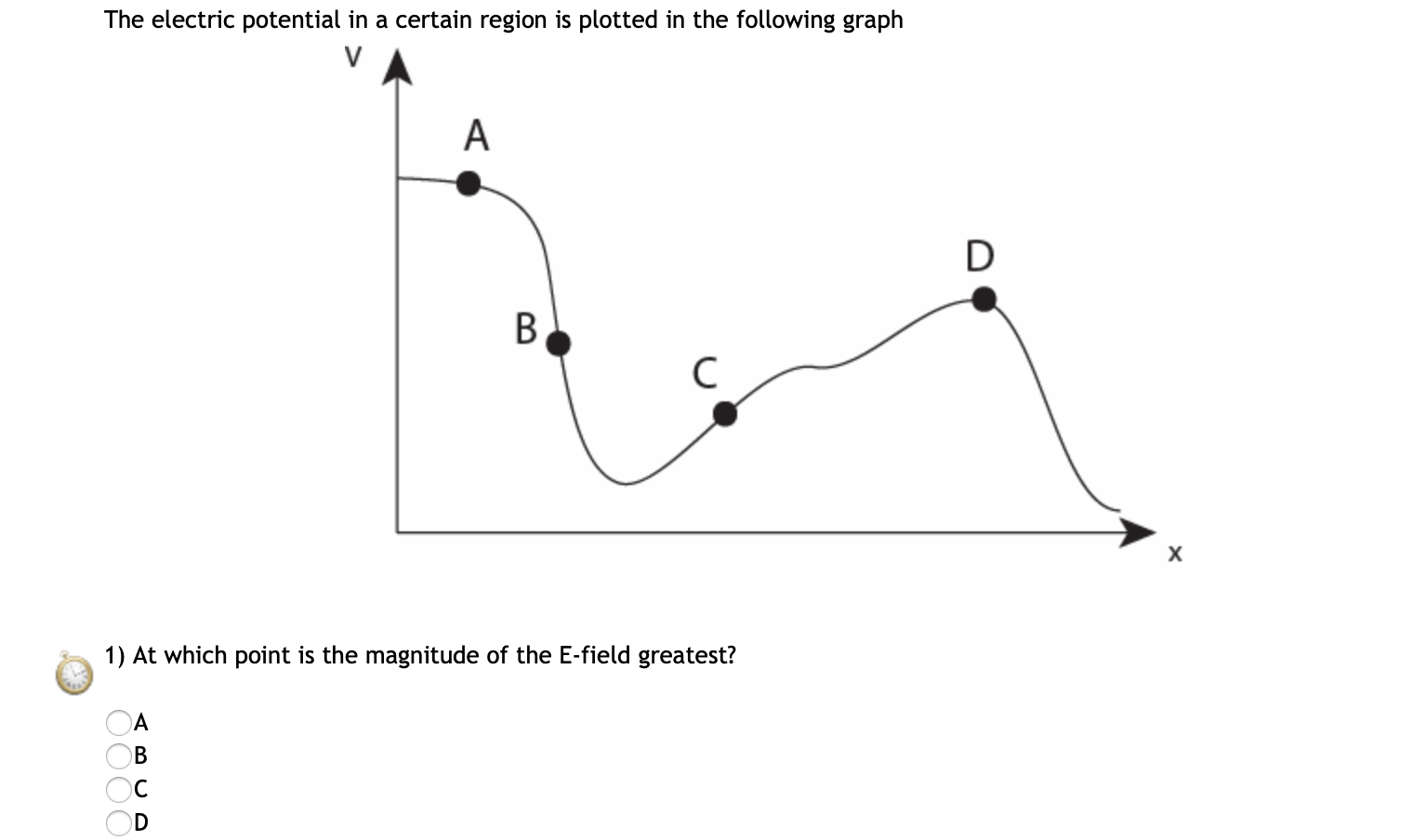 The electric potential in a certain region is plotted in the following graph D B. х 1) At which point is the magnitude of the E-field greatest? OD