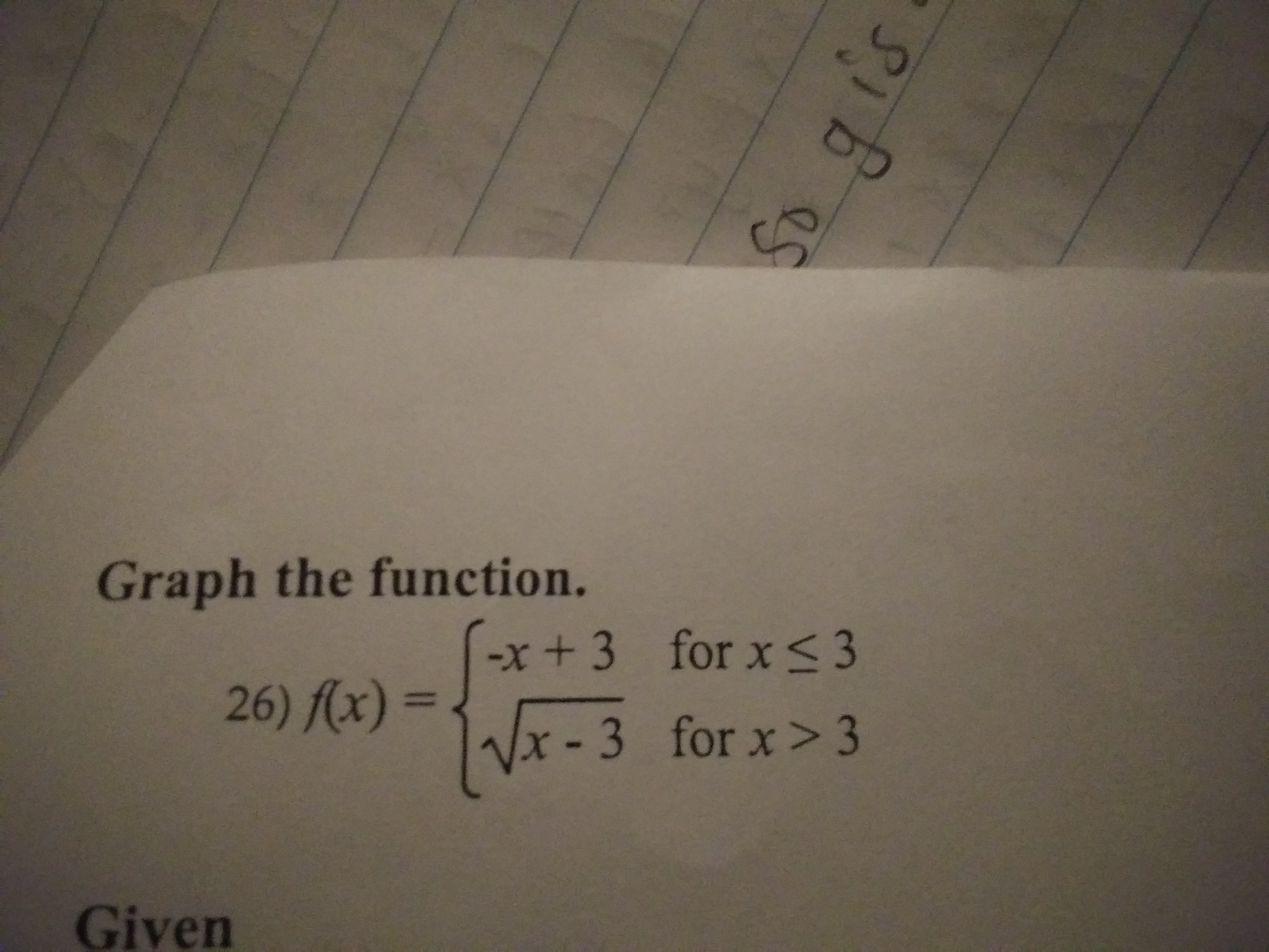 Graph the function. x+3 for x S 3 26) (x) = Vx-3 for x>3 Given