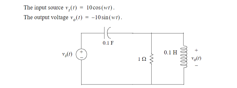 The input source v,(t) The output voltage v,(t) = -10 sin(wt). 10 cos (wt). HE 0.1 F 0.1 H v(t) vo(t) 1Ω