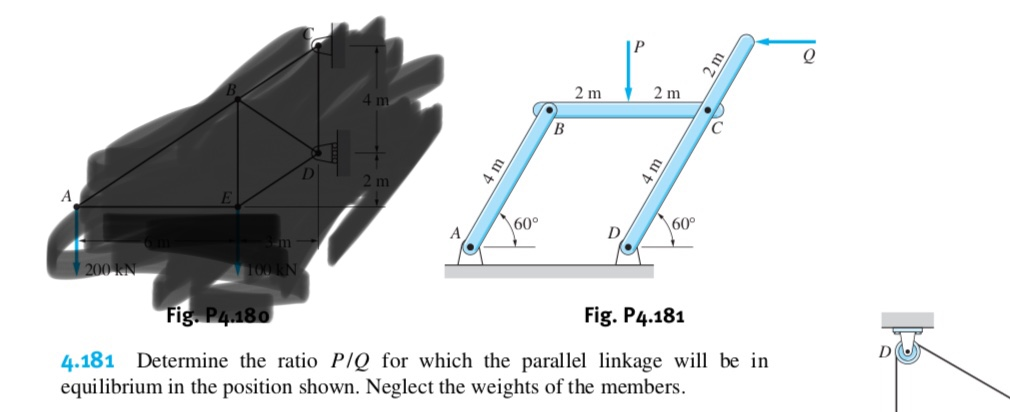 """4 m 2 m 2 m B A m A m 60° m 200 KN 60° """"Fig P4.180 Fig. P4.181 4.181 Determine the ratio PIQ for which the parallel linkage will be in equilibrium in the position shown. Neglect the weights of the members"""