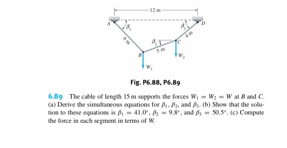12 m 4 m 5 m B W2 Fig. P6.88, P6.89 6.89 The cable of length 15 m supports the forces Wi = W2 = W at B and C (a) Derive the simultaneous equations for B, B2, and B3. (b) Show that the solu tion to these equations is B = 41.0°, B2 = 9.8°, and B3 the force in each segment in terms of W 50.5°. (c) Compute 6 m