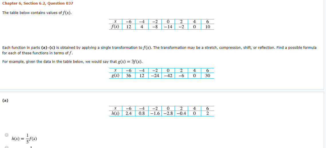 Chapter 6, Section 6.2, Question 037 The table below contains values of f(x) 0 -6 -2 2 4 -4 f(x) -8 12 4 14 -2 10 Each function in parts (a)-(c) is obtained by applying a single transformation to f(x). The transformation may be a stretch, compression, shift, or reflection. Find a possible formula for each of these functions in terms of f For example, given the data in the table below, we would say that g(x) = 3f(x). 0 -6 -4 -2 2 4 g(x) 36 12 -24 -42 -6 30 (a) 0 -6 -4 -2 2 4 -1.6-2.8-0.4 h(x) 0.8 2 2.4 h(x)