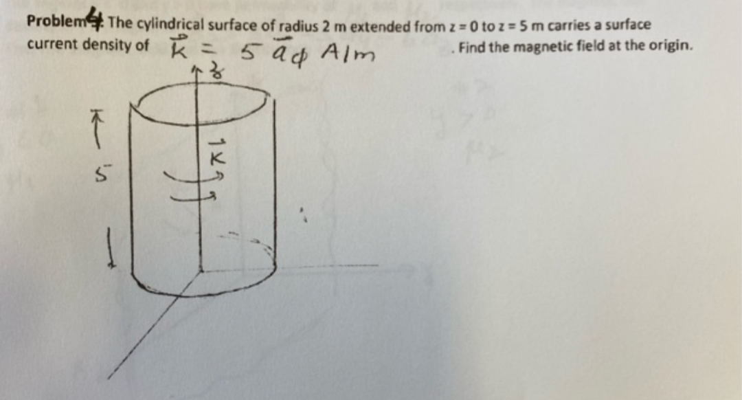 Problem The cylindrical surface of radius 2 m extended from z = 0 to z = 5 m carries a surface current density of k 5 a¢ Alm Find the magnetic field at the origin. %3D