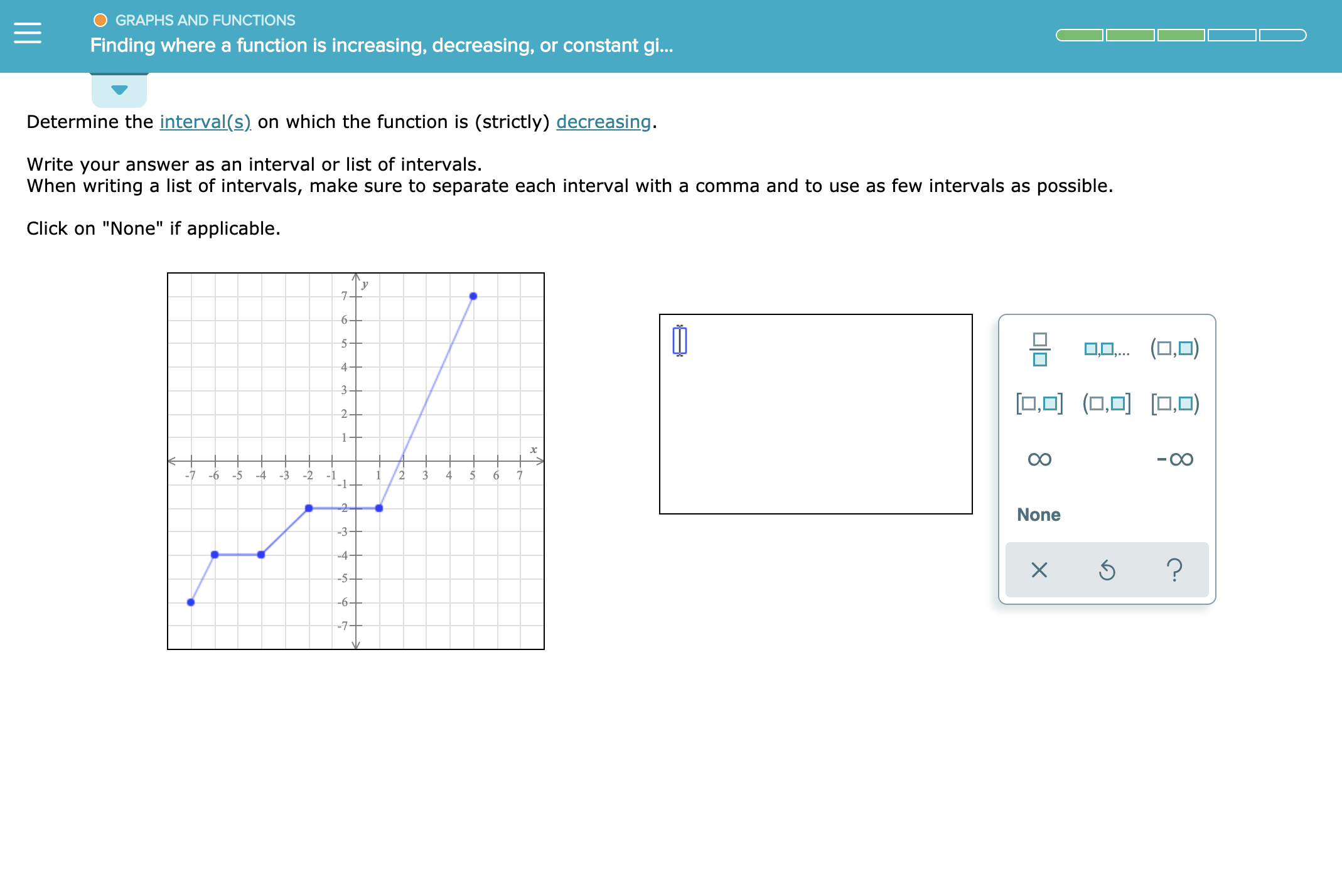 """GRAPHS AND FUNCTIONS Finding where a function is increasing, decreasing, or constant gi... Determine the interval(s) on which the function is (strictly) decreasing. Write your answer as an interval or list of intervals. When writing a list of intervals, make sure to separate each interval with a comma and to use as few intervals as possible. Click on """"None"""" if applicable 7 6- 5+ 0(0,O) 4- 3 O(O ) 2+ -7 -5 4 -2 1 2 4 5 6 6 -3 - ] -2- None -3 - -4- ? X --5+ -6+ -7-"""