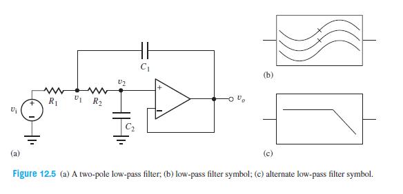 (b) U2 R1 (c) Figure 12.5 (a) A two-pole low-pass filter; (b) low-pass filter symbol; (c) alternate low-pass filter symbol.