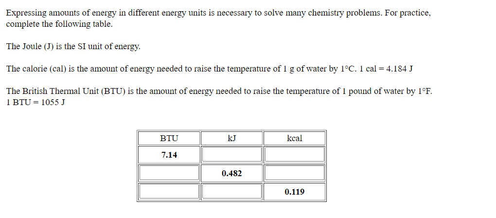 Answered Expressing Amounts Of Energy In Bartleby