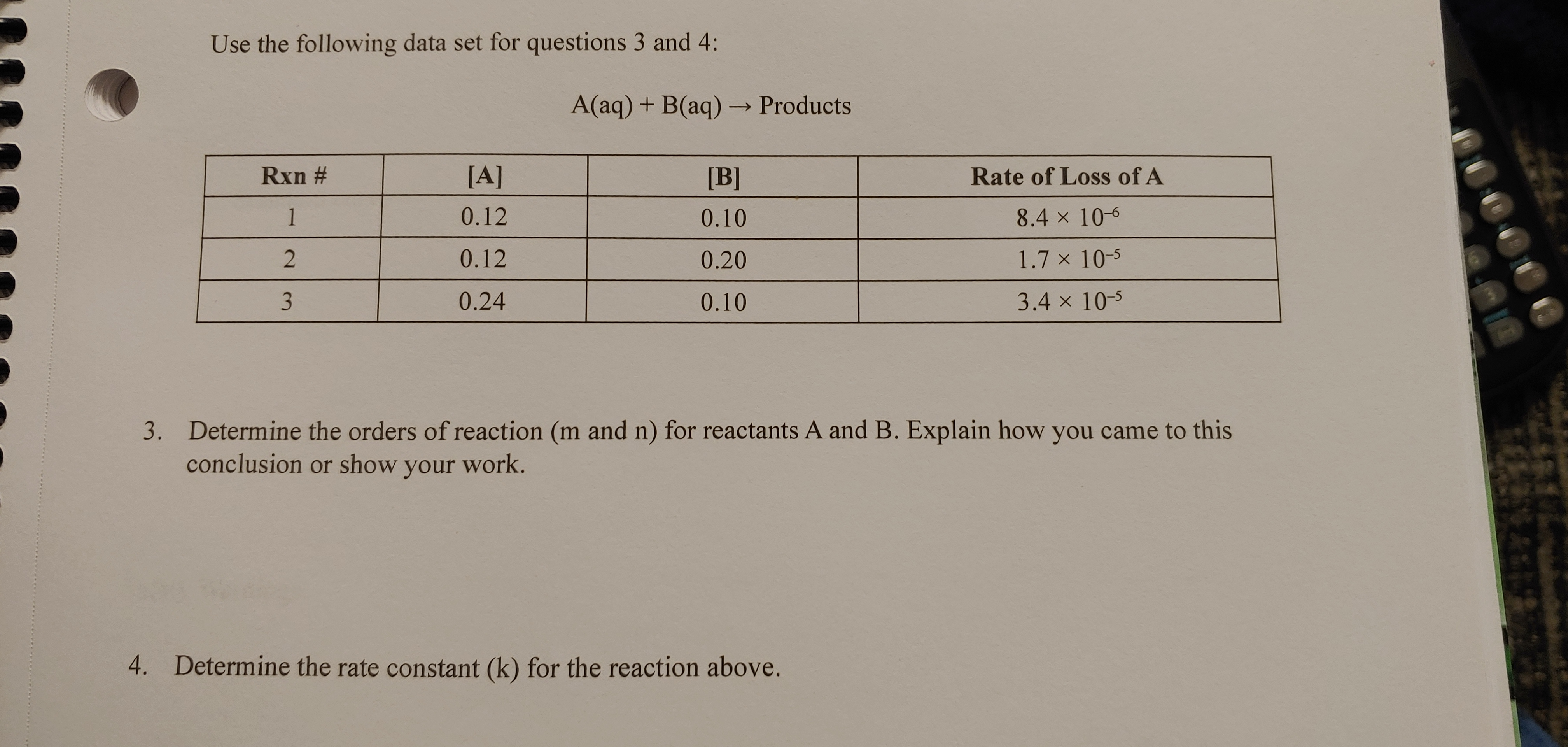 Use the following data set for questions 3 and 4: A(aq) + B(aq) → Products Rxn # [A] [B] Rate of Loss of A 1 0.12 0.10 8.4 x 10-6 0.12 0.20 1.7 x 10-5 0.24 0.10 3.4 x 10-5 3. Determine the orders of reaction (m and n) for reactants A and B. Explain how you came to this conclusion or show your work. 4. Determine the rate constant (k) for the reaction above.