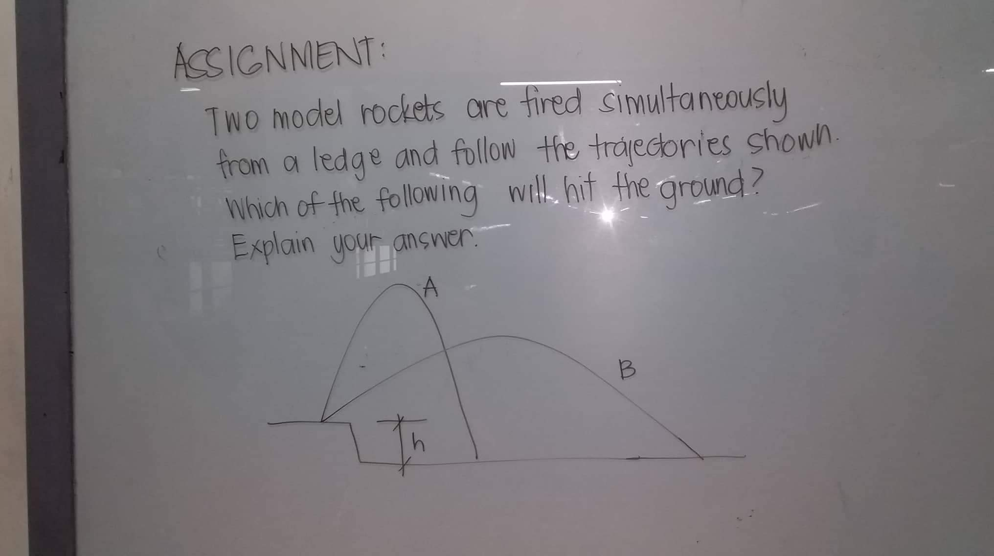 ACSIGNNENT: TwO model rockets ore fired simultaneously from a ledge and follow the trajecories shown. Which of the following with hit the ground? Explain your answer.