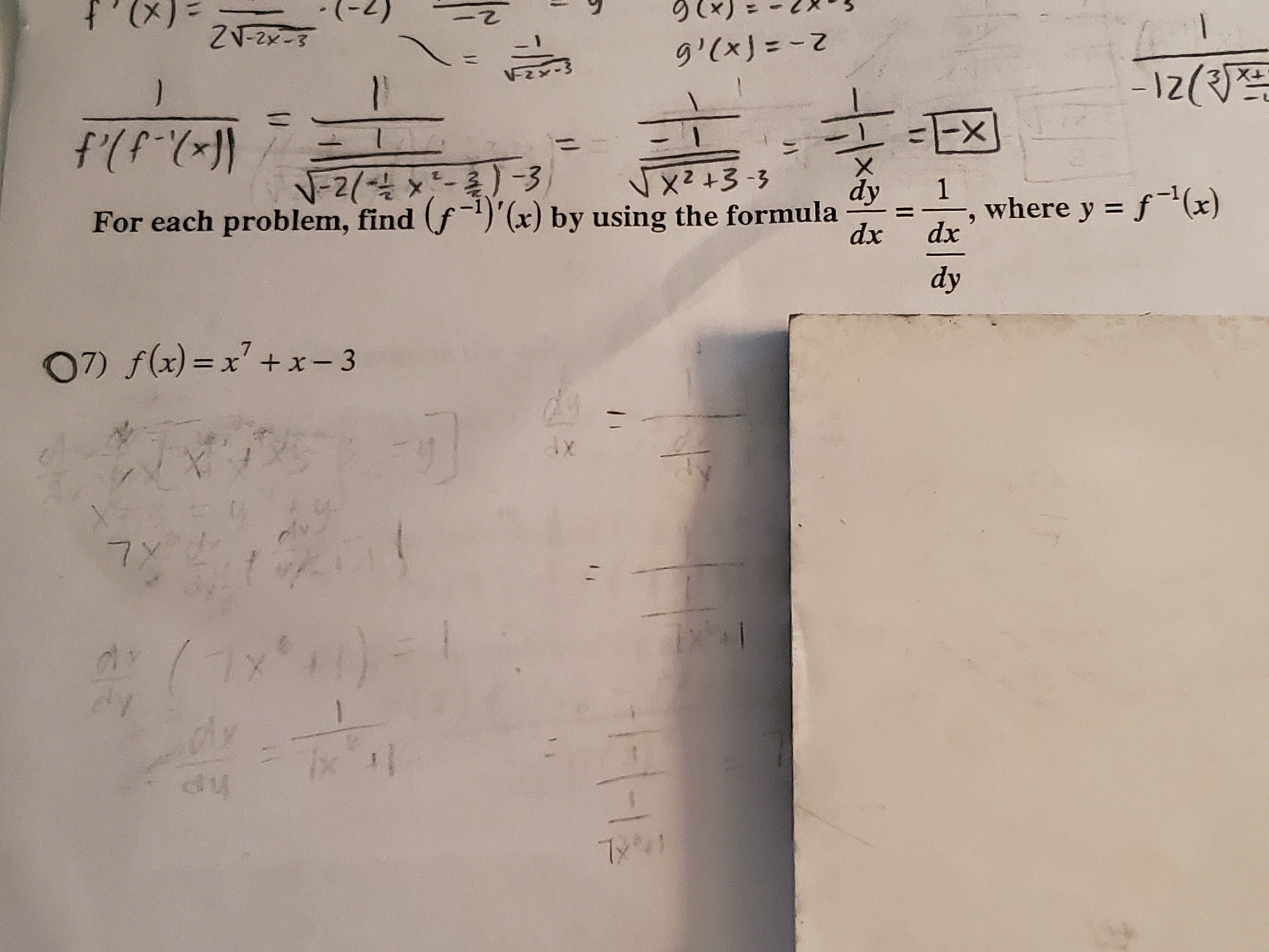 ZV-2x-8 g'(xJ=Z ) -1z( f(P EX N-2 3 2- Et zX For each problem, find (f)'(x) by using the formula dy 1 where y f(x) dx dx dy 07) f(x)= x + x-3 ax dly 7 X (ל'אר) - dy 7x 1/ U