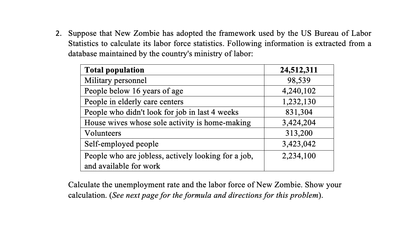 2. Suppose that New Zombie has adopted the framework used by the US Bureau of Labor Statistics to calculate its labor force statistics. Following information is extracted from a database maintained by the country's ministry of labor: Total population Military personnel People below 16 People in elderly care centers People who didn't look for job in last 4 weeks House wives whose sole activity is home-making 24,512,311 98,539 4,240,102 1,232,130 of years age 831,304 3,424,204 313,200 3,423,042 Volunteers Self-employed people People who are jobless, actively looking for a job, 2,234,100 and available for work Calculate the unemployment rate and the labor force of New Zombie. Show your calculation. (See next page for the formula and directions for this problem).