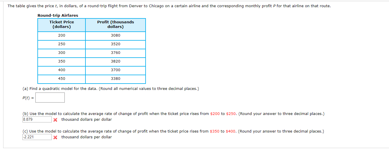 The table gives the price t, in dollars, of a round-trip flight from Denver to Chicago on a certain airline and the corresponding monthly profit P for that airline on that route. Round-trip Airfares Profit (thousands dollars) Ticket Price (dollars) 200 3080 250 3520 300 3760 350 3820 400 3700 450 3380 (a) Find a quadratic model for the data. (Round all numerical values to three decimal places.) P(t) = (b) Use the model to calculate the average rate of change of profit when the ticket price rises from $200 to $250. (Round your answer to three decimal places.) thousand dollars per dollar 8.879 (c) Use the model to calculate the average rate of change of profit when the ticket price rises from $350 to $400. (Round your answer to three decimal places.) 2.221 Xthousand dollars per dollar