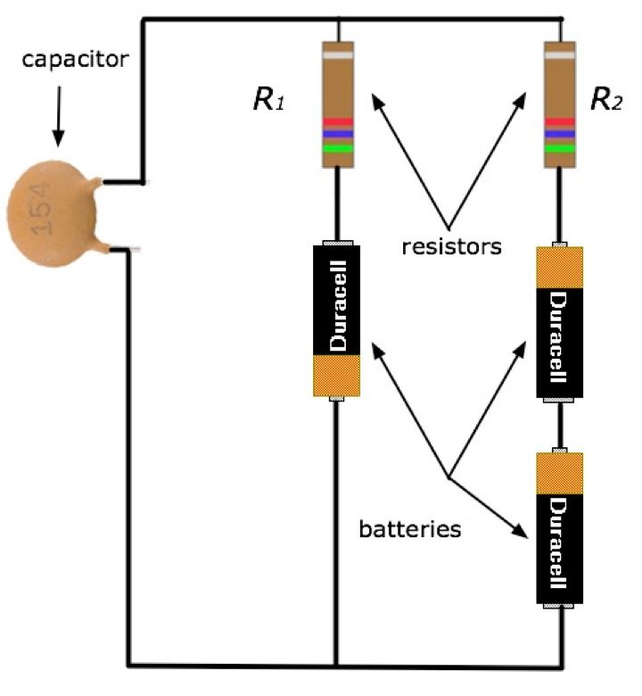capacitor R1 R2 resistors batteries 154 Duracell Duracell Duracell