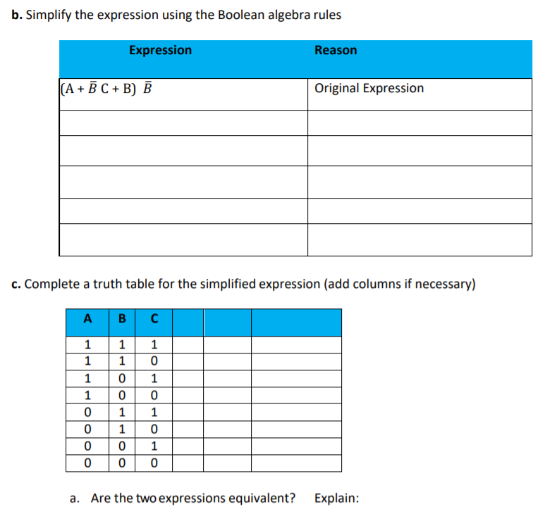 b. Simplify the expression using the Boolean algebra rules Expression Reason (A + Ē C + B) B Original Expression c. Complete a truth table for the simplified expression (add columns if necessary) A B C Are the two expressions equivalent? Explain: a.