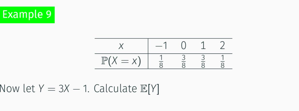 Example 9 -1 3 3 Р(Х %3Dх) 8 Now let Y = 3X – 1. Calculate E[Y] M|8|