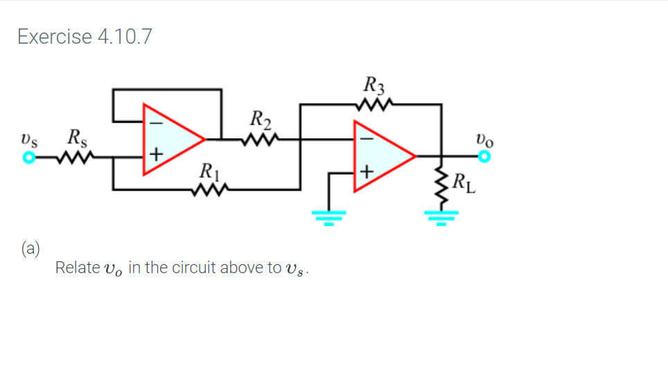 Exercise 4.10.7 R3 R2 Rs (а) Relate vo in the circuit above to vs.