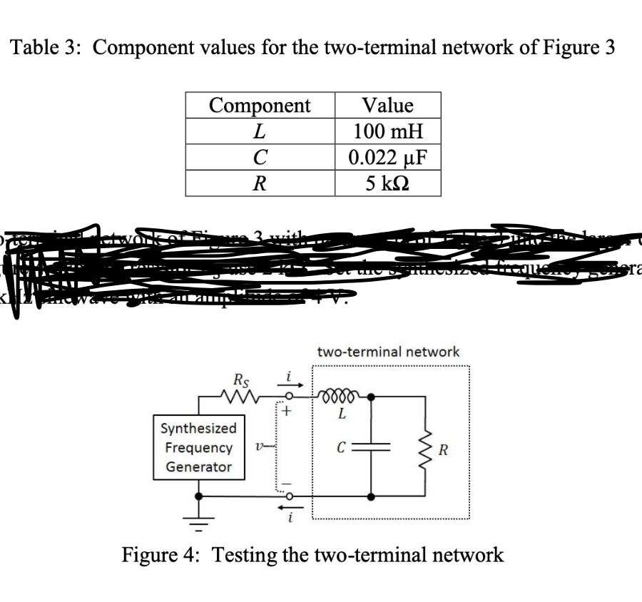 Table 3: Component values for the two-terminal network of Figure 3 Value Component L 100 mH 0.022 uF C 5 kn N- two-terminal network L Synthesized C Frequency v- R Generator Figure 4: Testing the two-terminal network -1