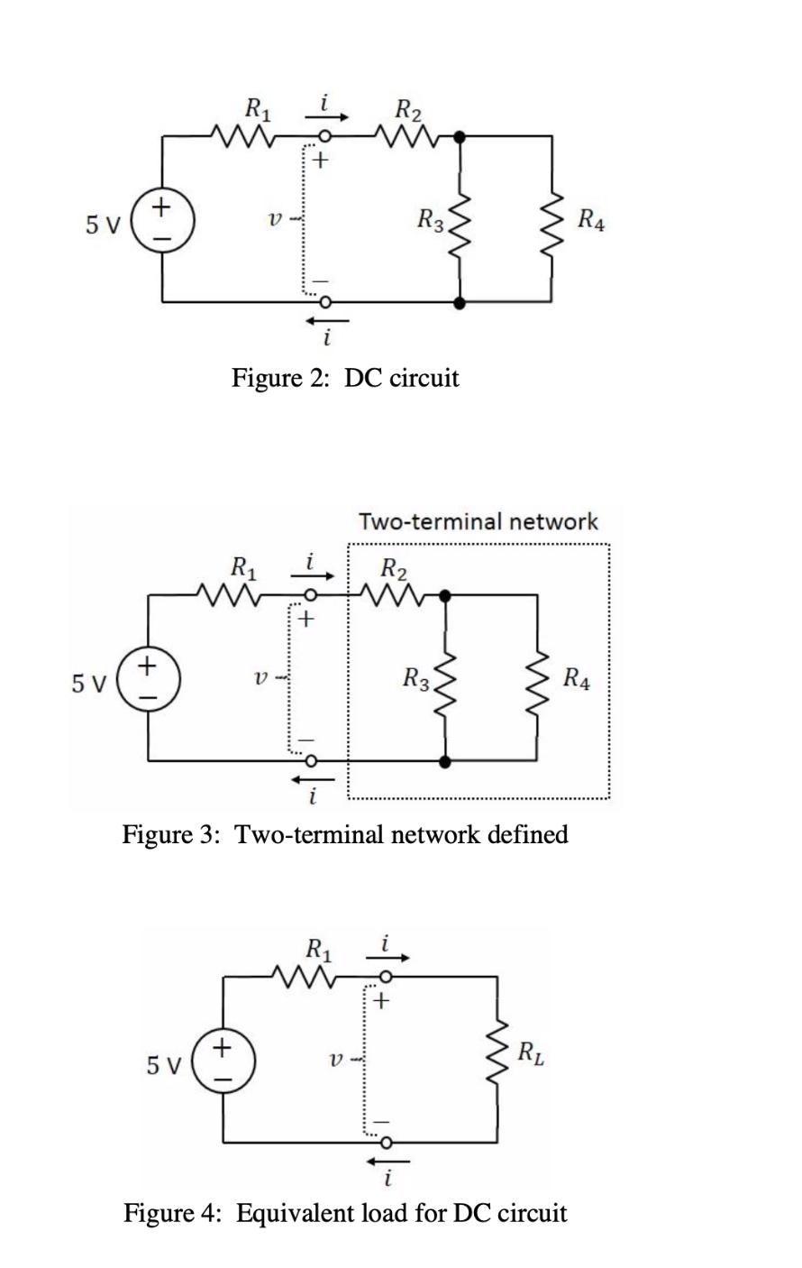 R2 R3 R4 V 5 V Figure 2: DC circuit Two-terminal network R2 R1 + 5 V R3 R4 V Figure 3: Two-terminal network defined R1 + + 5 V V Figure 4: Equivalent load for DC circuit w