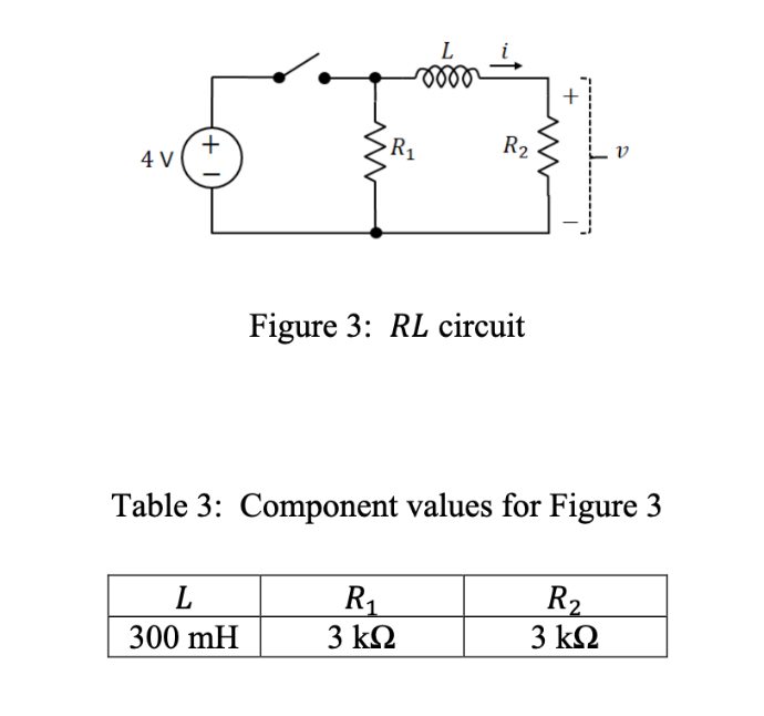 R2 R1 4 V Figure 3: RL circuit Table 3: Component values for Figure 3 L R1 3 kΩ R2 3 kΩ 300 mH