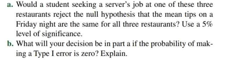 a. Would a student seeking a server's job at one of these three restaurants reject the null hypothesis that the mean tips on a Friday night are the same for all three restaurants? Use a 5% level of significance. b. What will your decision be in part a if the probability of mak- ing a Type I error is zero? Explain