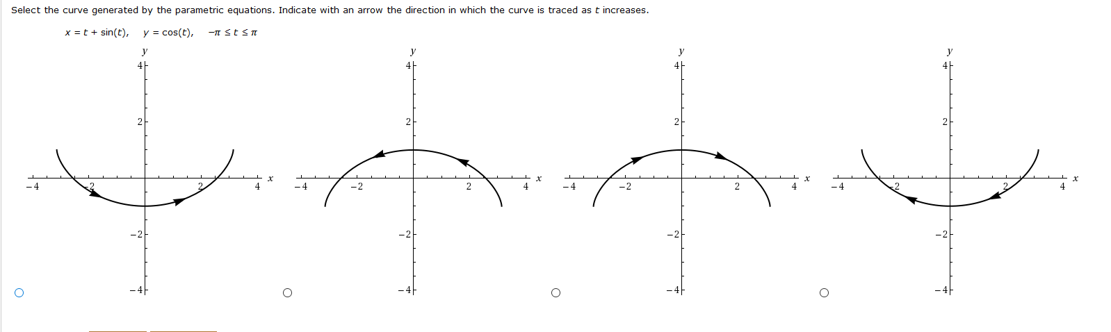 Select the curve generated by the parametric equations. Indicate with an arrow the direction in which the curve is traced as t increases. y cos(t) x =t sin(t), -IT StsT у у У -2 2 4 -2 2 4 O