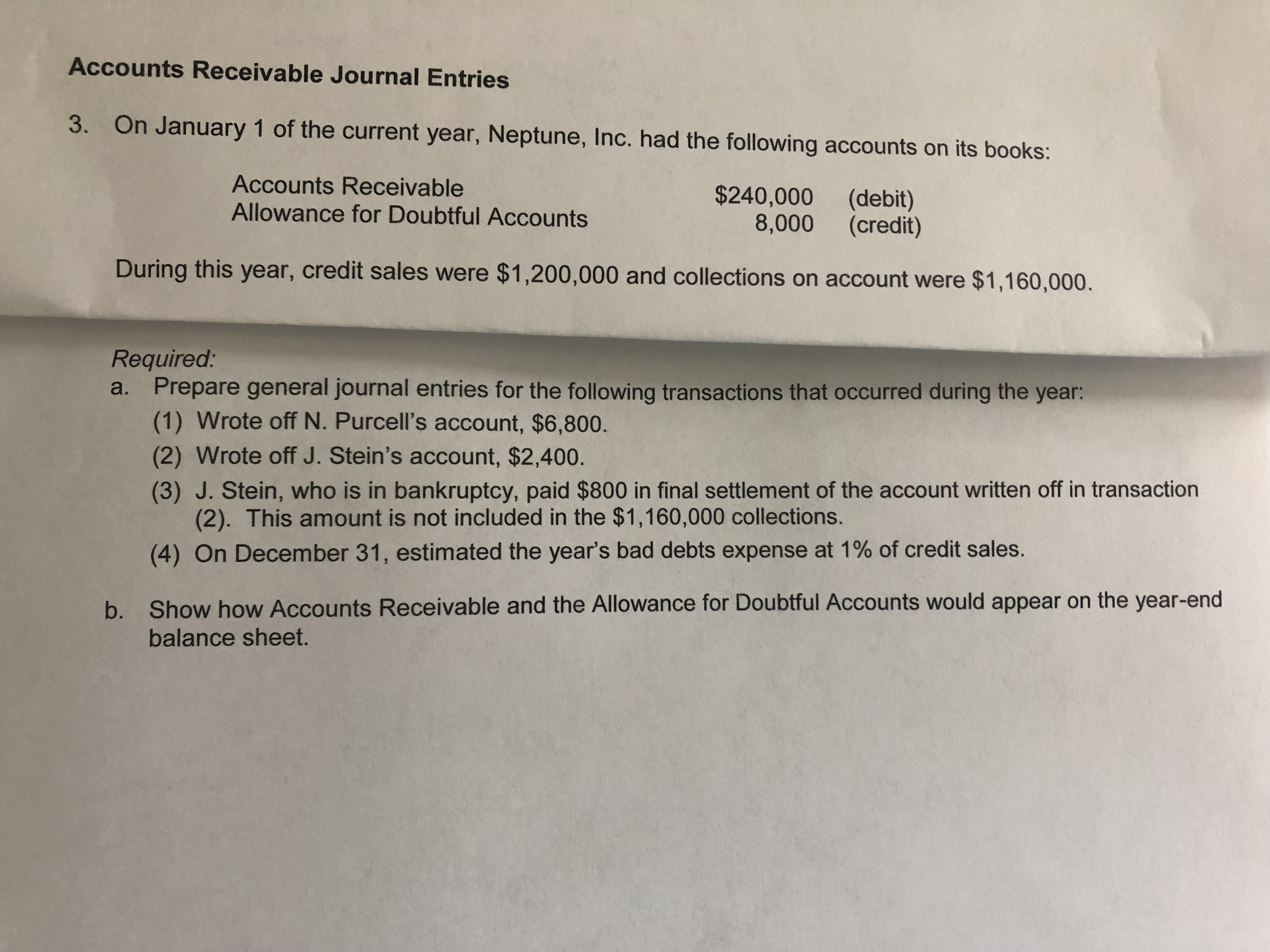 Accounts Receivable Journal Entries 3. On January 1 of the current year, Neptune, Inc. had the following accounts on its books: Accounts Receivable Allowance for Doubtful Accounts $240,000 8,000 (debit) (credit) During this year, credit sales were $1,200,000 and collections on account were $1,160,000. Required: a. Prepare general journal entries for the following transactions that occurred during the year: (1) Wrote off N. Purcell's account, $6,800. (2) Wrote off J. Stein's account, $2,400. (3) J. Stein, who is in bankruptcy, paid $800 in final settlement of the account written off in transaction (2). This amount is not included in the $1,160,000 collections. (4) On December 31, estimated the year's bad debts expense at 1% of credit sales. Show how Accounts Receivable and the Allowance for Doubtful Accounts would appear on the year-end b. balance sheet.
