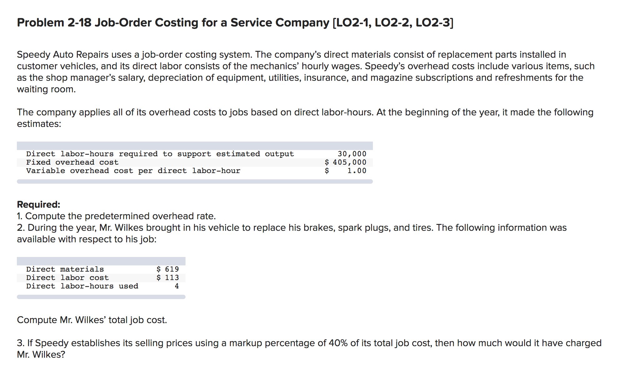 Problem 2-18 Job-Order Costing for a Service Company [LO2-1, LO2-2, LO2-3] Speedy Auto Repairs uses a job-order costing system. The company's direct materials consist of replacement parts installed in customer vehicles, and its direct labor consists of the mechanics' hourly wages. Speedy's overhead costs include various items, such as the shop manager's salary, depreciation of equipment, utilities, insurance, and magazine subscriptions and refreshments for the waiting room. The company applies all of its overhead costs to jobs based on direct labor-hours. At the beginning of the year, it made the following estimates: 30,000 $ 405,000 1.00 Direct labor-hours required to support estimated output Fixed overhead cost Variable overhead cost per direct labor-hour Required: 1. Compute the predetermined overhead rate. 2. During the year, Mr. Wilkes brought in his vehicle to replace his brakes, spark plugs, and tires. The following information was available with respect to his job: $ 619 $ 113 Direct materials Direct labor cost Direct labor-hours used 4 Compute Mr. Wilkes' total job cost. 3. If Speedy establishes its selling prices using a markup percentage of 40% of its total job cost, then how much would it have charged Mr. Wilkes?