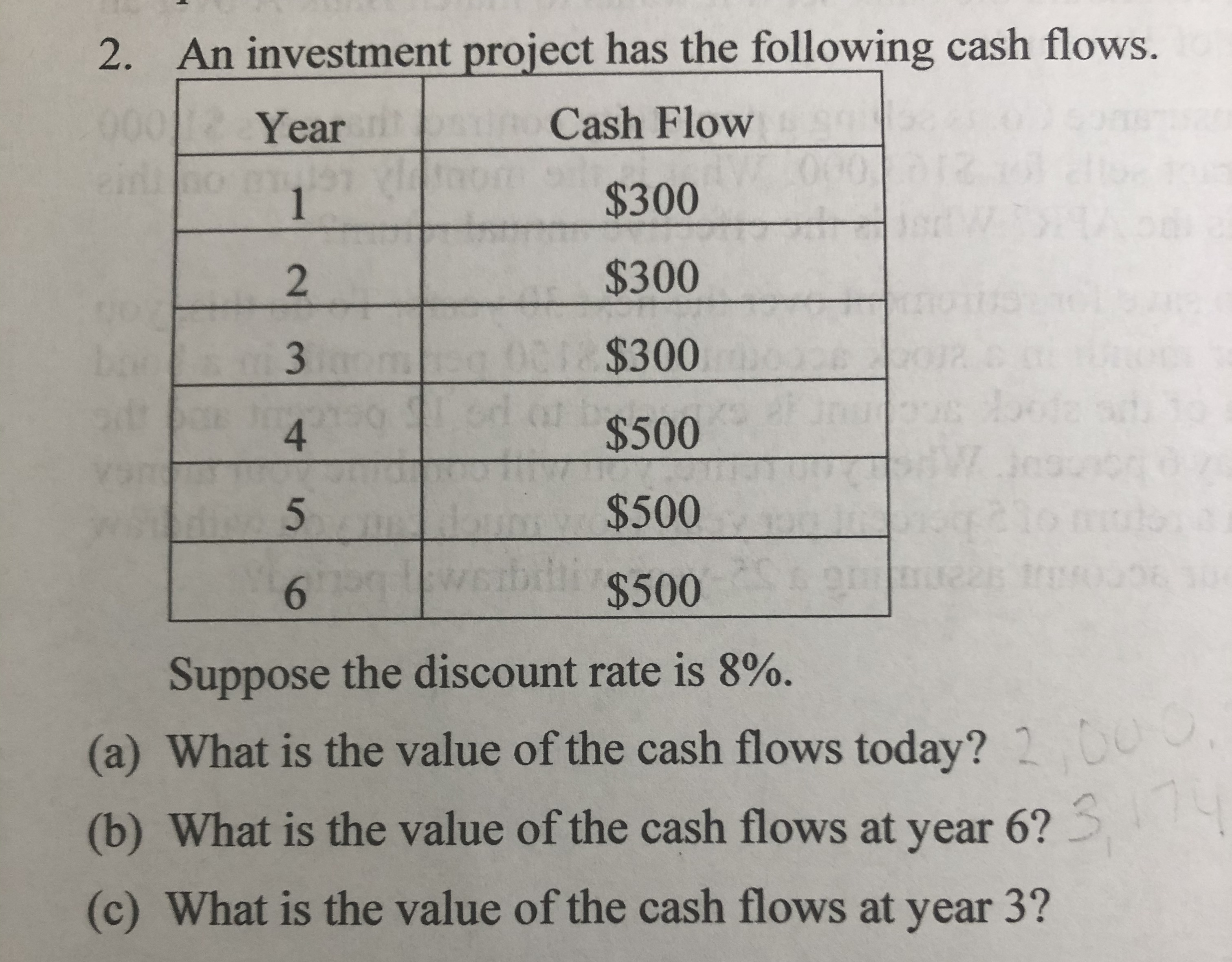 An investment project has the following cash flows. 2. 001 : Cash Flow Year 060 $300 1 $300 2 01 $300 3 4F $500 4 $500 21 bdl $500 6 Suppose the discount rate is 8%. (a) What is the value of the cash flows today? 2 00 14 (b) What is the value of the cash flows at year 6? (c) What is the value of the cash flows at year 3? 3E