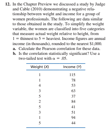 12. In the Chapter Preview we discussed a study by Judge and Cable (2010) demonstrating a negative rela- tionship between weight and income for a group of women professionals. The following are data similar to those obtained in the study. To simplify the weight variable, the women are classified into five categories that measure actual weight relative to height, from 1 = thinnest to 5 = heaviest. Income figures are annual income (in thousands), rounded to the nearest $1,000. a. Calculate the Pearson correlation for these data. b. Is the correlation statistically significant? Use a two-tailed test with a = .05. Weight (X) Income (Y) 115 78 1 4 53 3 63 37 84 5 41 3 51 94 1 44