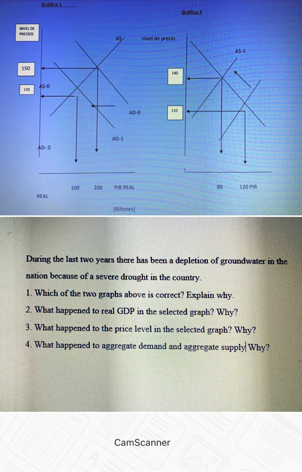 During the last two years there has been a depletion of groundwater in the nation because of a severe drought in the country. 1. Which of the two graphs above is correct? Explain why. 2. What happened to real GDP in the selected graph? Why? 3. What happened to the price level in the selected graph? Why? 4. What happened to aggregate demand and aggregate supply Why?