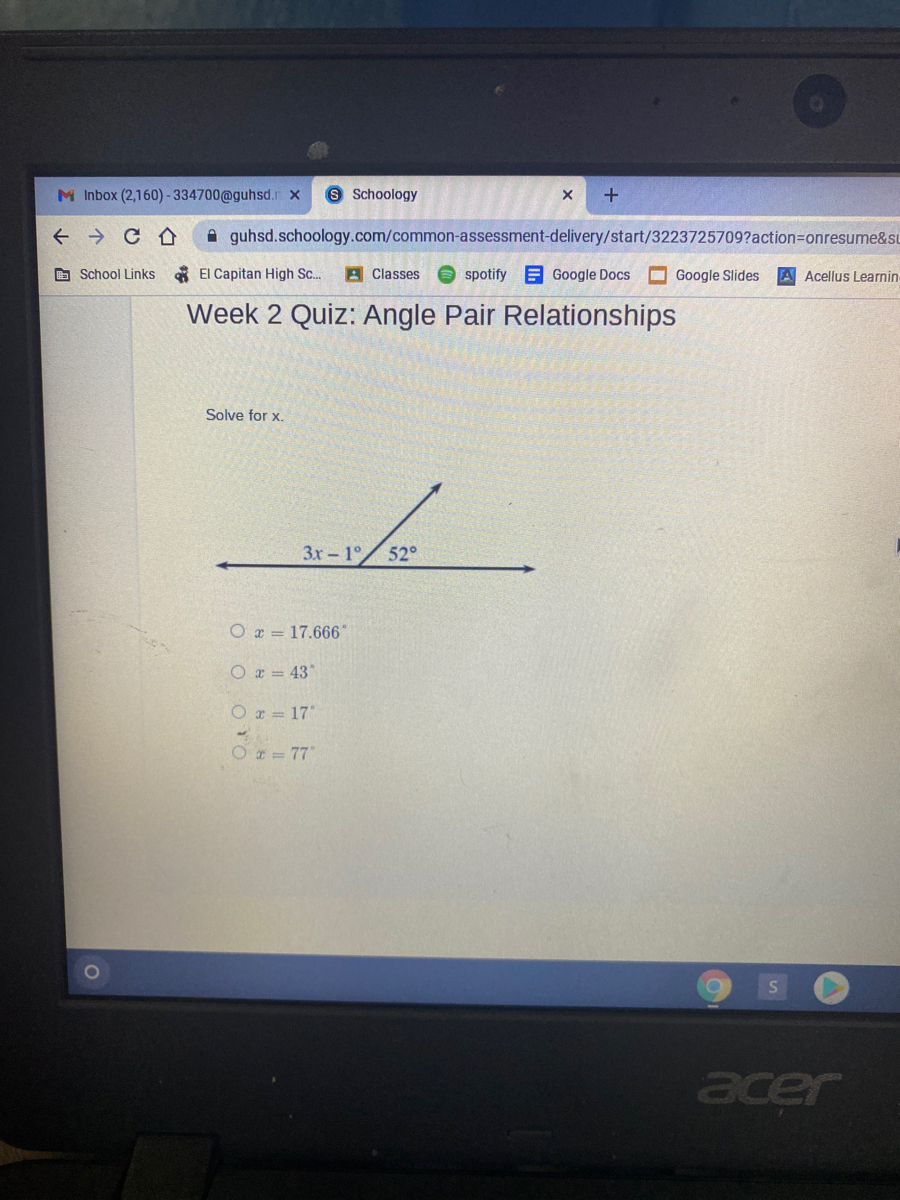 Answered: Week 2 Quiz: Angle Pair Relationships… | bartleby