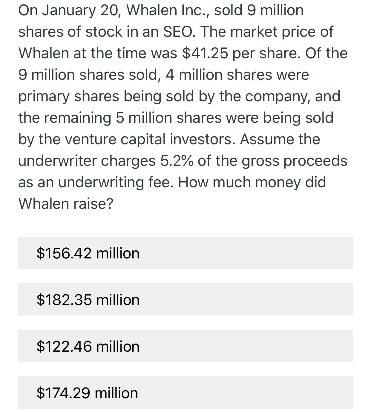 On January 20, Whalen Inc., sold 9 million shares of stock in an SEO. The market price of Whalen at the time was $41.25 per share. Of the 9 million shares sold, 4 million shares were primary shares being sold by the company, and the remaining 5 million shares were being sold by the venture capital investors. Assume the underwriter charges 5.2% of the gross proceeds as an underwriting fee. How much money did Whalen raise? $156.42 million $182.35 million $122.46 million $174.29 million