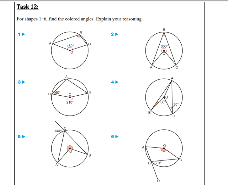 l'ask 12: or shapes 1-6, find the colored angles. Explain your reasoning В 2 160 300° A 60° 210° 80 30° 140AC В A BN70°