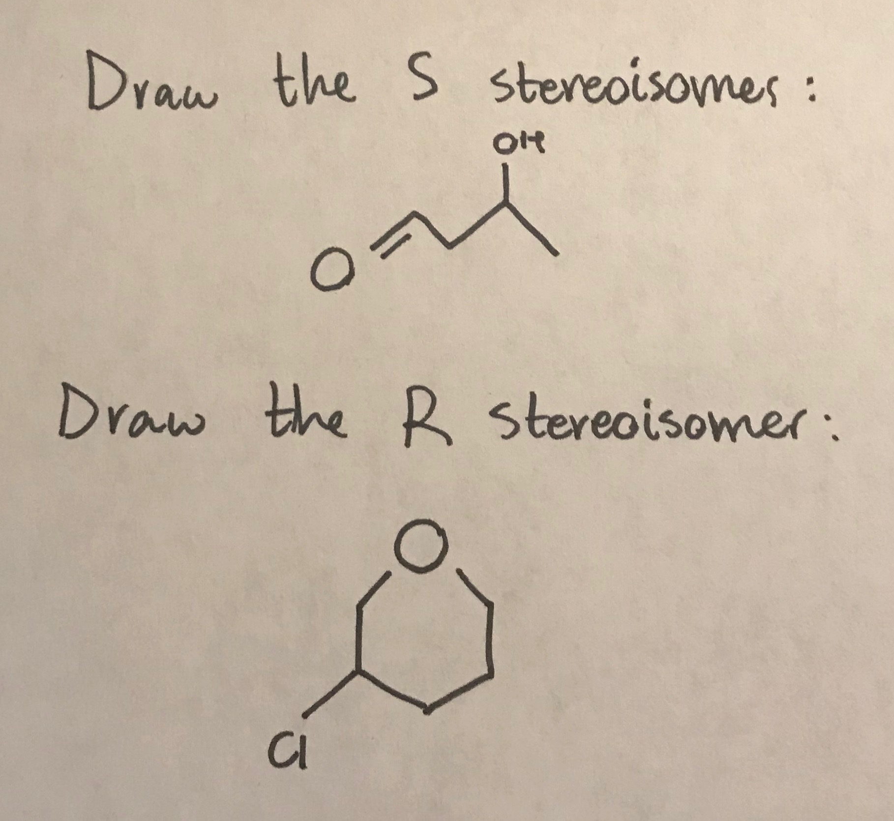 Draw the S stereoisomes : Of ont Draw the R stereoisomer