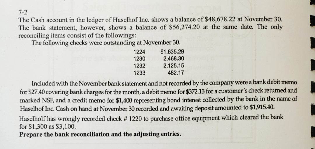 7-2 The Cash account in the ledger of Haselhof Inc. shows a balance of $48,678.22 at November 30. The bank statement, however, shows a balance of $56,274.20 at the same date. The only reconciling items consist of the followings: The following checks were outstanding at November 30 $1,635.29 2,468.30 2,125.15 482.17 1224 1230 1232 1233 Included with the November bank statement and not recorded by the company were a bank debit memo for $27.40 covering bank charges for the month, a debit memo for $372.13 for a customer's check returned and marked NSF, and a credit memo for $1400 representing bond interest collected by the bank in the name of Haselhof Inc. Cash on hand at November 30 recorded and awaiting deposit amounted to $1,915.40 Haselholf has wrongly recorded check # 1220 to purchase office equipment which cleared the bank for $1,300 as $3,100 Prepare the bank reconciliation and the adjusting entries.